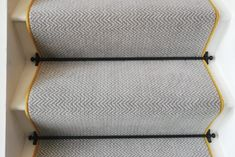 See our exciting wide range of Stair Runners and matching landing pieces from Crucial Trading. Grey Striped Carpet, Striped Carpet Stairs, Grey Stair Carpet, Hallway Carpet, Hallway Flooring, Grey Flooring, Floors, Black Painted Stairs, Black And White Stairs