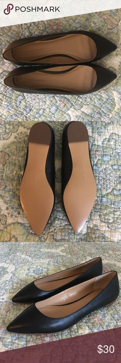 Banana Black Leather Flats Re-posh as I was hoping my size 10 foot would fit. It didn't. Fits a true 9.5 or a 9. Beautiful, perfect condition, unworn black pointy-toe flat. Banana Republic Shoes Flats & Loafers