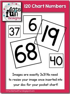 120 Pocket Chart Numbers ~Dots of Fun Designs~ FREE