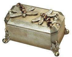 """Features:  -Box.  -Resin construction.  Product Type: -Decorative Box.  Style: -Traditional.  Finish: -Gold. Dimensions:  Overall Height - Top to Bottom: -6"""".  Overall Width - Side to Side: -11"""".  Ove"""