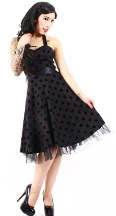 The flocked polka dot print on this dress is so perfectly 1950s! #blamebetty #polkadot #retro