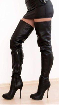 Black high heel thigh boots