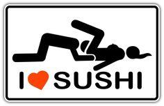 I Love Sushi Adult Funny Car Bumper Window Sticker Decal 5 X3