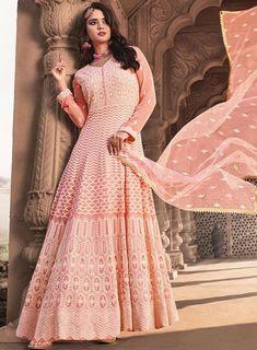 Designer Salwar Suits, Designer Gowns, Designer Wear, Indian Suits Online, Buy Salwar Kameez Online, Coral Pink, Pink Color, Blush Pink