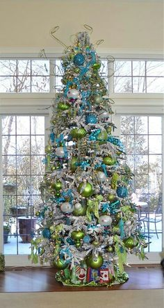 silver lime and turquoise pretty christmas trees green christmas christmas - Lime Green And Blue Christmas Decorations
