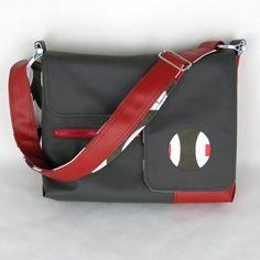 Vegan Laptop Bag Chocolate and Cherry Red, Vinyl Laptop Bag, Computer Bag