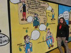 Muro del instituto decorado con la historia de Fuente Palmera y sus aldeas con  motivos de Astérix y Obélix. Trabajo realizado por 4º B con la dirección de su profesora, Carmen López Rey