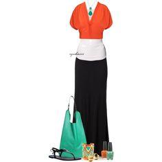 Turquoise & Orange by cynthia335 on Polyvore