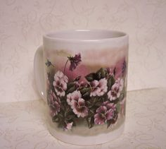 Handmade Pansy Mug Painted Porcelain Coffee Cup by MsCraftyTouch