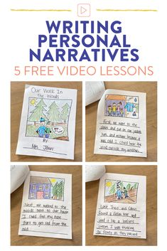 Teach your first grade students how to write personal narratives with these 5 easy steps. There are 5 video lessons directed towards students with modeled strategies to get your students working through the writing process from brainstorming through publishing.