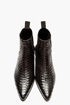 Saint Laurent Black Python Chelsea Boots for men   SSENSE