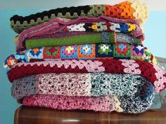 Thrift store crocheted blankets by sukigirl74, via Flickr