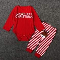 Retail New Girls Boys long sleeve Christmas deer bodysuits striped trousers set Baby Santa Claus suit. Click visit to buy #BabyGirlClothingSet #BabyGirl #ClothingSet