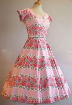 STUNNING Vintage 1950s Floral Striped Horrockses Fashions Dress & Jacket