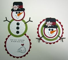 Telescopic Snowman card with Instructions - bjl