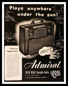 1947 Admiral Radio Ad with Thin Man Portable by 3rdStVintagePaper