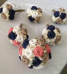 Burlap Bouquets in Coral, Navy, Natural, and Ivory. Each bouquet, including every flower, if 100% handmade from scratch to create this bouquets with rustic & natural elements. Order 6 months ahead of wedding dates! Spring/Summer Weddings should prepare earlier if possible. 20-50% deposits available on orders, and 8 different sizes available, for budgeted brides to those looking to splurge!