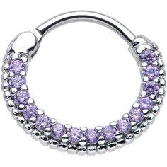 "16 Gauge 3/8"" Tanzanite CZ Ring of Brilliance Septum Clicker | Body Candy Body Jewelry"