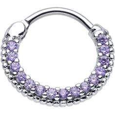 "16 Gauge 3/8"" Tanzanite CZ Ring of Brilliance Septum Clicker 
