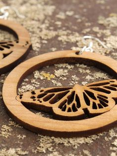Butterfly Earrings Laser Cut Wooden Hoops by TimberGreenWoods, $15.95