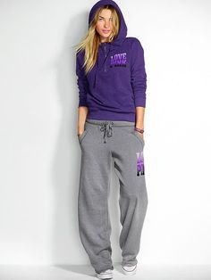 Victoria's secret CAMPUS STYLE cropped capri sweat pants LOVE PINK ...