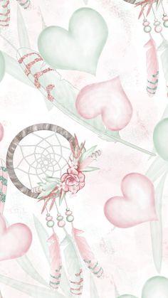 Pinned by delavegaandere Phone Wallpaper Boho, Dreamcatcher Wallpaper, Pink Wallpaper, Pattern Wallpaper, Cute Wallpaper Backgrounds, Cute Wallpapers, Scrapbook Paper, Scrapbooking, Dream Catcher Art