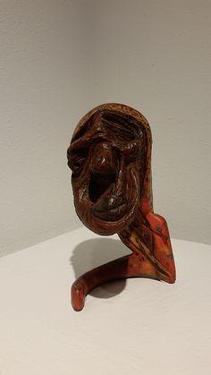 "Abebe Zelelew, ""Granny"", mixed media on wood."