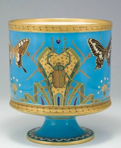 CHRISTOPHER DRESSER for MINTON, c. 1867, flower pot holder decorated with butterflies and beetles, 9.75 in. H.