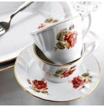 Kütahya Porselen Diana Güllü 6 Kişilik Porselen Kahve Takımı