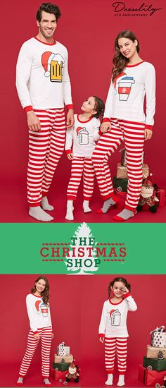 5bb8f9dbe7e2 Christmas Bottles Print Matching Family Pajamas.  dresslily  christmas   pajamas