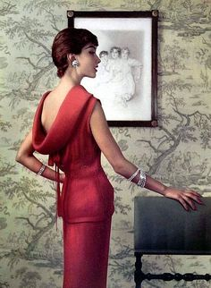 Marie-Helene Arnaud in a finely pleated two-piece crèpe dinner dress by Lanvin-Castillo, jewelry by Roger Scèmama, L'Officiel 1955