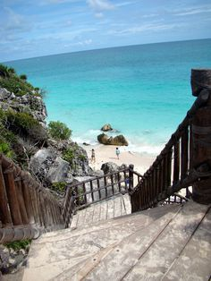 Tulum    When you're staying at a beach house, it's nice to have a lovely, winding set of stairs to access the white sand of Mexico.