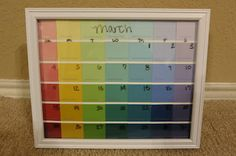 paint chips calendar in a frame.