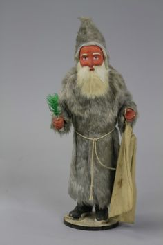 """15"""" Belsnickle Santa candy container in silver fox robe, sold for $2000"""
