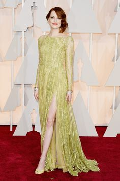 Emma Stone wears custom ELIE SAAB Haute Couture Spring Summer 2015 to the 87th Academy Awards in LA.