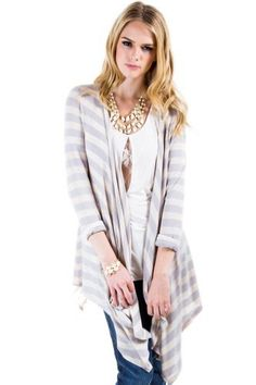 $16 at www.heavenlycouture.com Striped Cardigan Wrap in Lavender