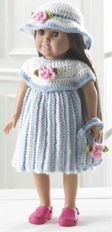"Design by: Maggie Weldon Skill Level: Easy Size: Fits 18"" doll. Materials: Yarn Needle; Sport Weight Yarn: White - 2 oz, 144 yd (56 g, 130 m); Blue - 2 oz, 144 yd (56 g, 130 m); Green - 4.5 yd; Pink -"