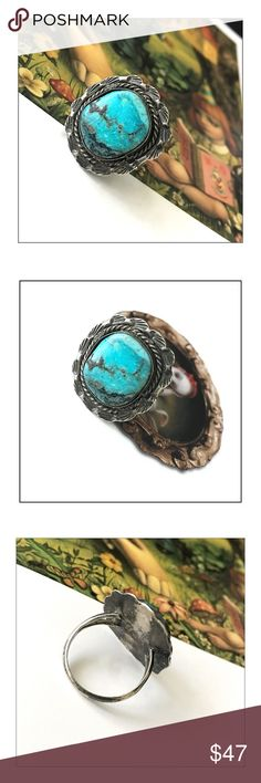 "✨Vintage Braided Sterling Navajo Turquoise Ring✨ ✨Vintage Braided Sterling Silver Navajo Turquoise Ring✨Beautiful Vintage Navajo Piece✨Just Over 1"" In Length✨Approx Ring Size 9.5✨ Vintage Jewelry Rings"