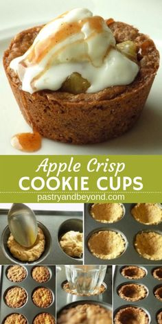 Apple Crisp Cookie Cups-This apple crisp cookie cups recipe is delicious and easy to make! Cinnamon oatmeal cookie cups are soft and chewy in the middle, crispy at the edges. You can easily make these homemade single serving cookie cups in a muffin tin. Apple Cookies, Cinnamon Cookies, Yummy Cookies, Cinnamon Oatmeal, Apple Desserts, Köstliche Desserts, Delicious Desserts, Dessert Recipes, Creative Desserts