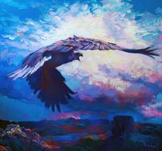Nicola Simbari, THE FALCON, Original Painting It swoops through the meager light in the sky, screeching with intent as it passes above the mesas and canyons Oil On Canvas, Whale, Original Paintings, Art Gallery, Sky, Landscape, The Originals, Artist, Nature