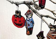 Black cat ornament Folk art cat ceramic figurine Halloween