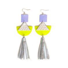 Triangle Geometric Earrings, Neon Yellow Metallic Leather Earrings, Holographic Silver Leather Tassel Earrings, Futuristic Hologram Jewelry