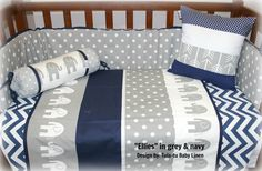 Ellies-themed nursery linen in grey & navy. #babydecor #elephant #cotlinen Linen are made to order by Tula-tu Baby Linen - view more designs on our website: www.tulatu.co.za