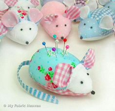 """Crafty Blessings Ideas ~Have a Blessed Day~ """"Old Fashion Vintage Farmer's Wife"""" ~ Mousey PinCushions"""