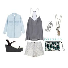 We love this easy breezy look that's perfect for the weekend or a day out at the beach. Keep cool in a slinky top and a pair of printed shorts, and wedges keeps the look fun (sneakers work, too!). You may wanna bring a denim shirt if it gets a little chilly, and grays and blues work well together. Casual chic! www.dressi.ly