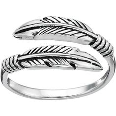 Primrose Sterling Silver Feather Bypass Ring (€17) ❤ liked on Polyvore featuring jewelry, rings, accessories, boho, bague, grey, boho chic jewelry, feather ring, boho jewelry and sterling silver feather charm