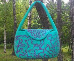 Купить Сумка валяная Изумрудная фантазия - сумка на каждый день, сумка в подарок, сумка женская