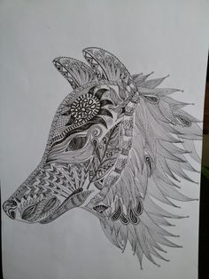 Zentangle ...wolf head  Gift for my boyfriend ;)