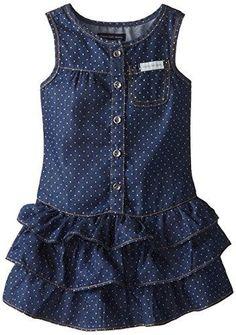 Vestido niña topos azul marino con volantes Little Girls Fancy Dresses, Girls Dresses, Toddler Dress, Baby Dress, Little Girl Fashion, Kids Fashion, English Dress, Moda Kids, Dress Anak