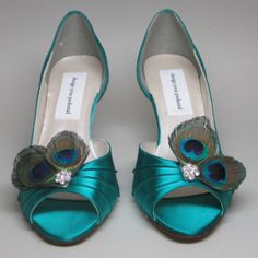 Custom Wedding Shoes - Peacock Feather Adornment on Bridge